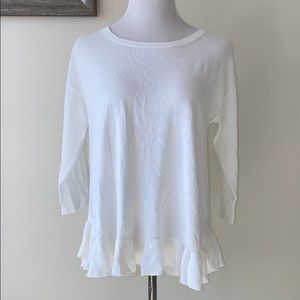 NWT Lord & Taylor White Ruffle Top Size L